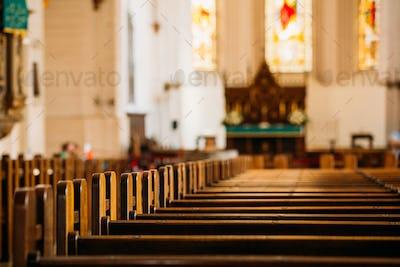 Riga, Latvia. Interior Of The Riga Dom Dome Cathedral. Church Pe