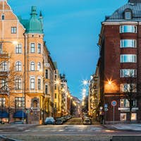 Helsinki, Finland. Residential House Building At Intersection Of