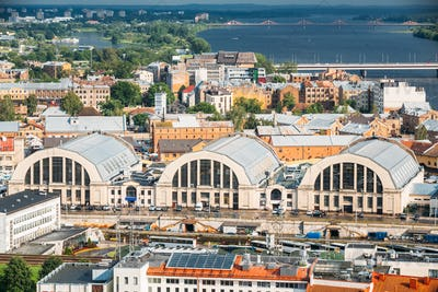 Riga, Latvia. Aerial Cityscape In Sunny Evening. Famous Landmark