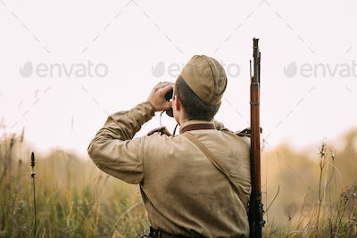 Man Dressed As Russian Soviet Red Army Infantry Soldier Of World
