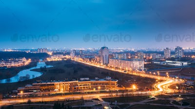 Minsk, Belarus. Aerial Cityscape In Bright Blue Hour Evening And