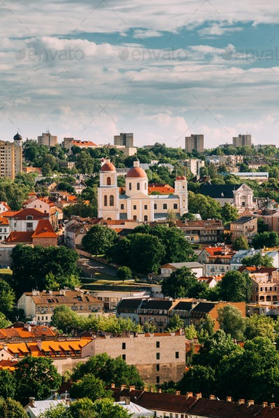 Vilnius, Lithuania. Bastion Of Vilnius City Wall And Orthodox Ch