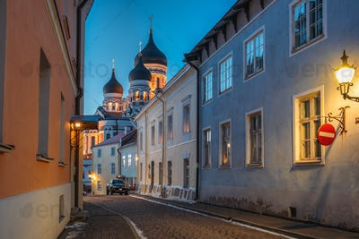 Tallinn, Estonia. Evening View Of Alexander Nevsky Cathedral Fro