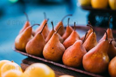 Tbilisi, Georgia. Close View Of Fresh Pears In Tray On Showcase