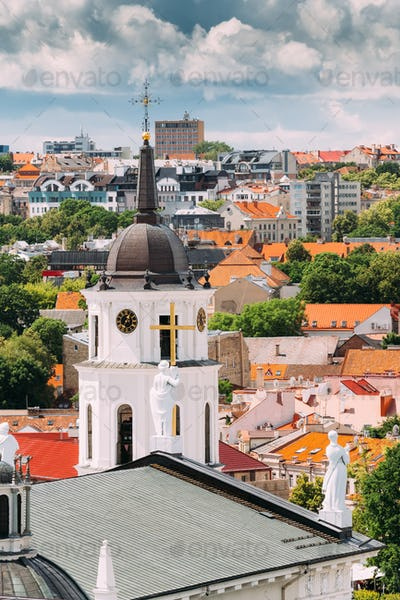 Vilnius, Lithuania. Bell Tower Near Cathedral Basilica Of St. St