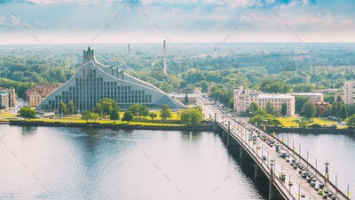 Riga, Latvia. Akmens Tilts - Stone Bridge Street In Summer Day.