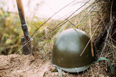 Metal Helmet Of Infantry Soldier Of Soviet Russian Red Army Duri