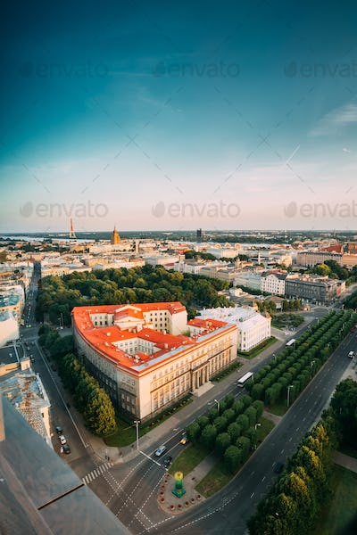 Riga, Latvia. Riga Cityscape. Top View Of Buildings Ministry Of