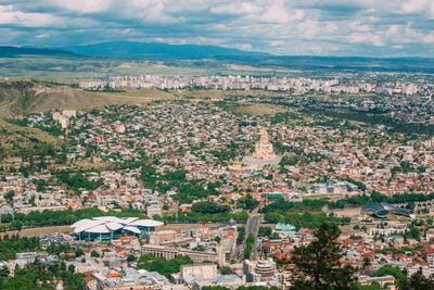 Tbilisi Georgia. Aerial Panoramic View Of City With Famous Landm