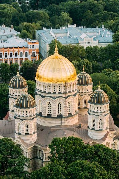 Riga, Latvia. Riga Cityscape. Top View Of Riga Nativity Of Chris