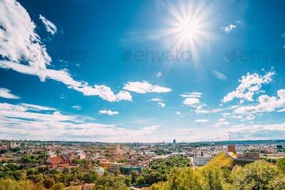 Vilnius, Lithuania. Old Town Historic Center Cityscape Under Blu