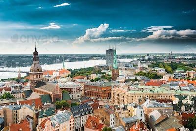 Riga, Latvia. Cityscape In Sunny Summer Day. Famous Landmarks -