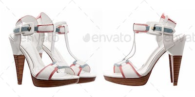 Summer women shoes over white, side and three quarters views