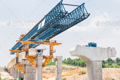 Construction of an overhead Mass Rail Transit train line in progress