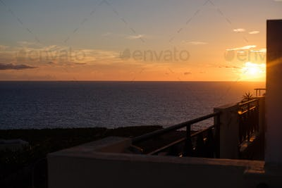 view on sunset from balcony