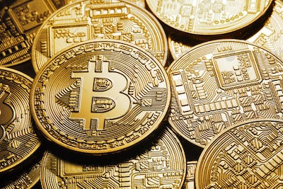Background on a business theme from virtual bitcoin currency