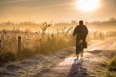 Silhouette of cyclist landscape