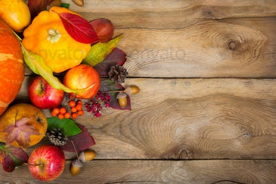 Thanksgiving background with yellow squash, apples, rowan and ac