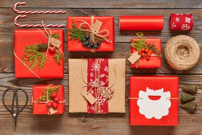 Christmas presents on wooden background
