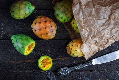 Colorful cactus fruit or prickly pears in paper package