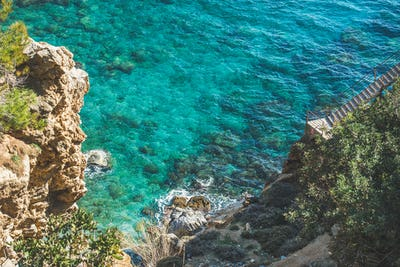 Way down to lagoon and turquoise sea waters, Turkey