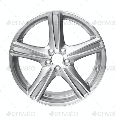 Alloy car wheel rim isolated on white background