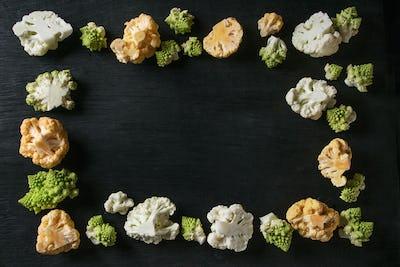 Variety of cauliflower and radish