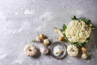 Variety of white vegerables