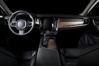 Car dashboard, modern luxuty interior, steering wheel