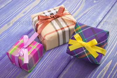 Wrapped gifts with ribbons for Christmas or other celebration