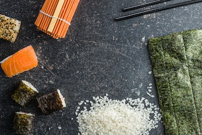 Japanese sushi rolls, rice and nori.