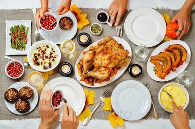 Autumn Thanksgiving main dish celebration family concept