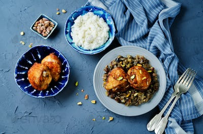 Moroccan spiced chicken with dates and aubergines