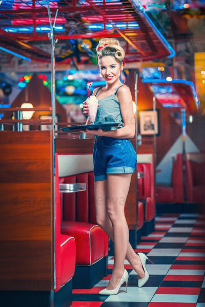 Waitress in cafe