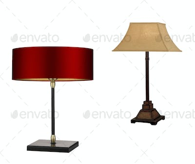 Modern and vintage lamps isolated