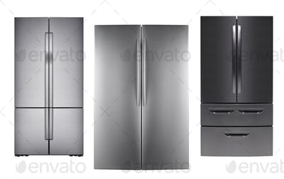 three stainless steel refrigerators on white