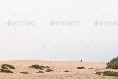 Cyclist on a fatbike on a dune at Swakopmund