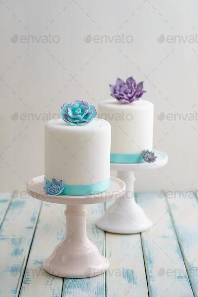 Mini succulent wedding cakes