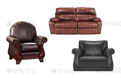 Cozy leather chairs with sofa isolated