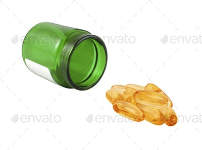 pills and a bottle isolated