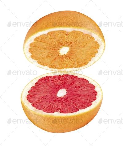 half grapefruit isolated