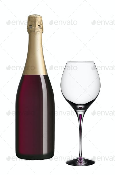 champagne bottle and glass isolated