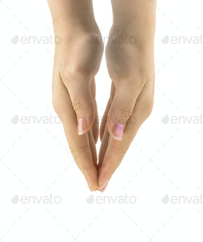 woman's praing hands isolated