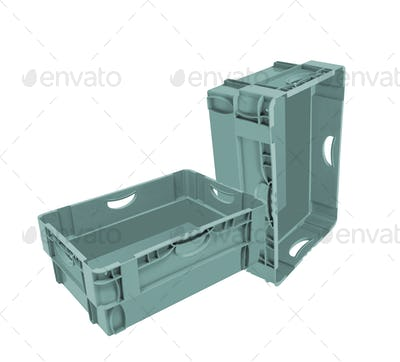 empty crates isolated