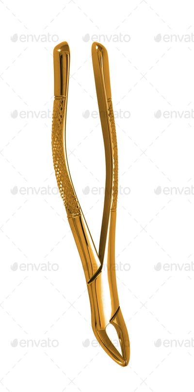 Little golden hair tweezers isolated