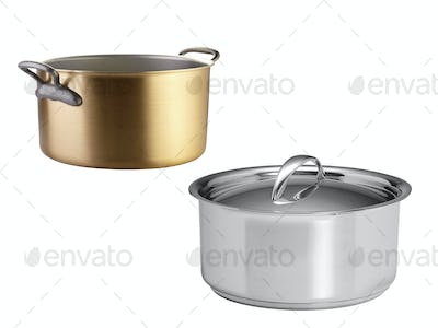 A stainless pans isolated