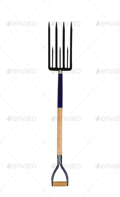 garden tool pitchfork isolated