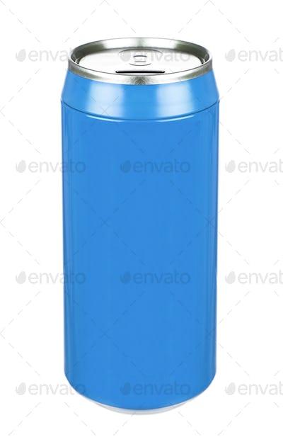 Aluminum blue soda can isolated