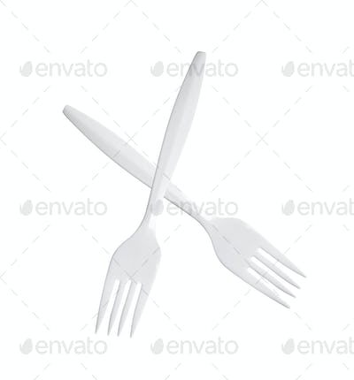 plastic forks isolated