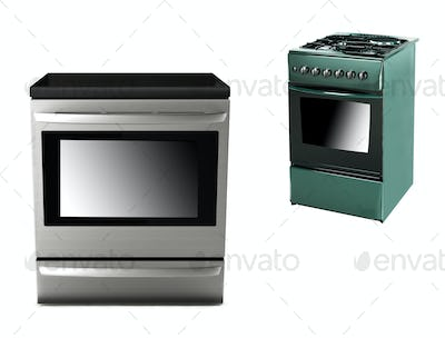 gas-stove with electric cooker isolated